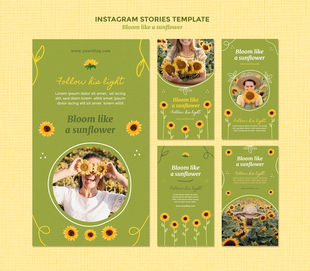 Kolekcja opowiadań na instagramie ze słonecznikami i kobietą