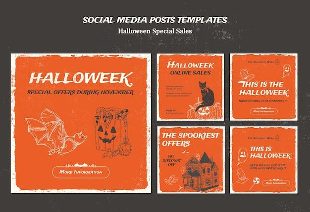 Kolekcja postów na instagram dla halloweek