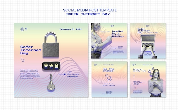 Kolekcja postów na instagramie dla bezpieczniejszego dnia w internecie