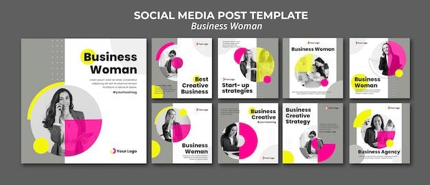 Kolekcja postów na instagramie dla bizneswoman