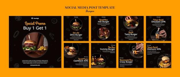 Kolekcja postów na instagramie dla burger bistro