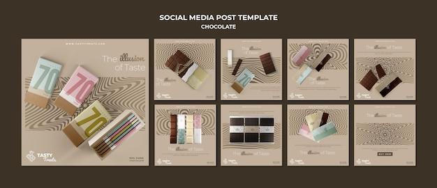 Kolekcja postów na instagramie dla czekolady