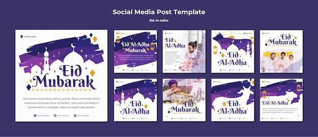 Kolekcja postów na instagramie dla eid mubarak