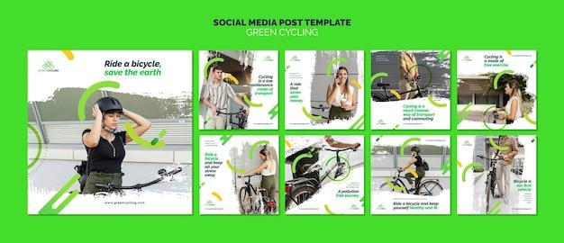 Kolekcja postów na instagramie dla ekologicznej jazdy na rowerze