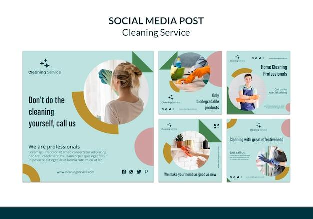 Kolekcja postów na instagramie dla firmy sprzątającej