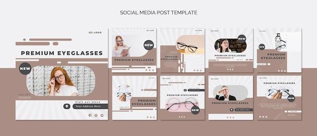 Kolekcja postów na instagramie dla firmy zajmującej się okularami