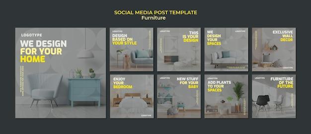 Kolekcja postów na instagramie dla firmy zajmującej się projektowaniem wnętrz