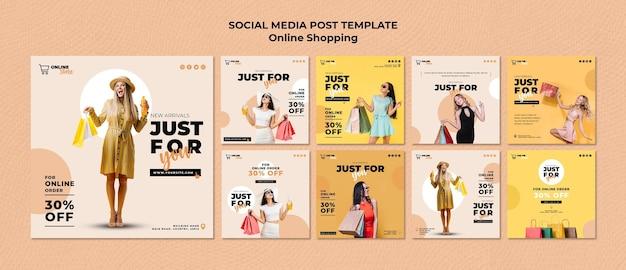 Kolekcja postów na instagramie dla internetowej sprzedaży mody