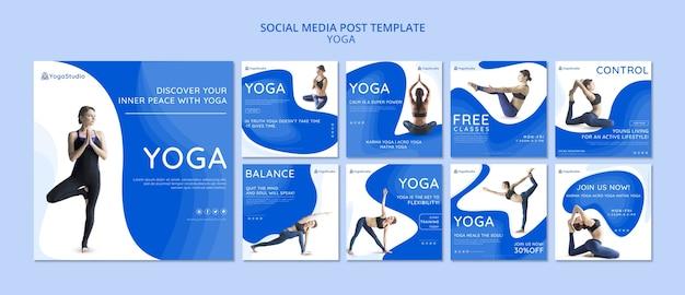 Kolekcja postów na instagramie dla jogi