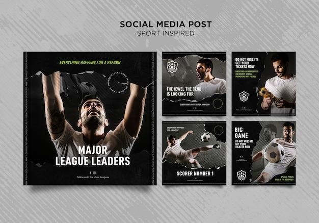 Kolekcja postów na instagramie dla klubu piłkarskiego