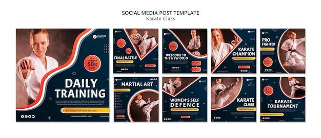 Kolekcja postów na instagramie dla kobiecych zajęć karate