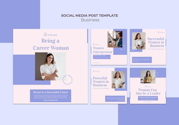 Kolekcja postów na instagramie dla kobiet w biznesie