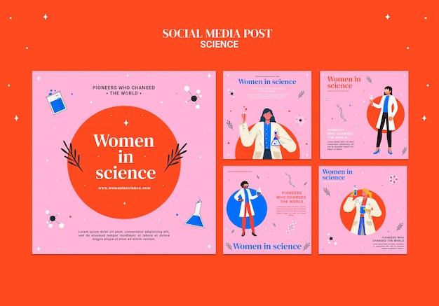 Kolekcja postów na instagramie dla kobiet zajmujących się nauką