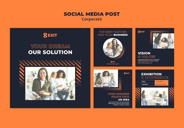 Kolekcja postów na instagramie dla korporacji biznesowych