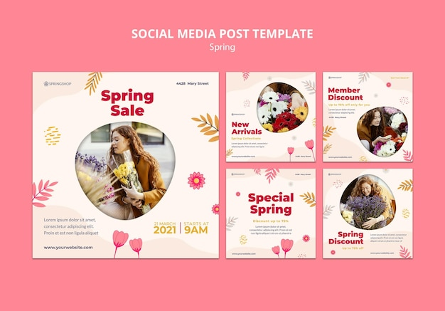 Kolekcja postów na instagramie dla kwiaciarni z wiosennymi kwiatami