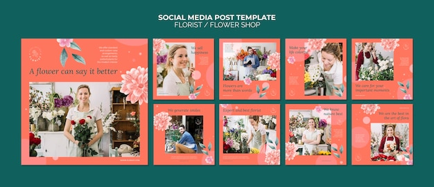 Kolekcja postów na instagramie dla kwiaciarni