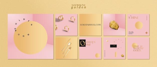 Kolekcja postów na instagramie dla luksusowego złota