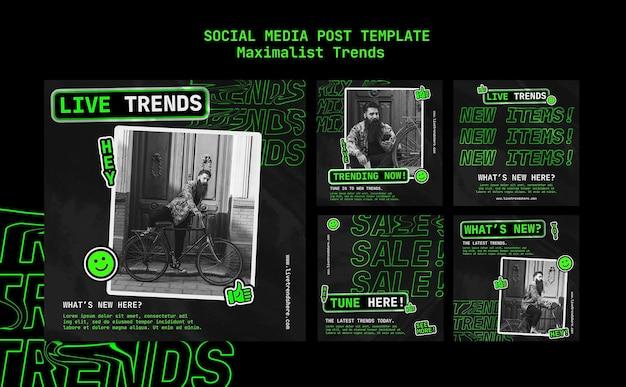 Kolekcja postów na instagramie dla maksymalistycznego trendu