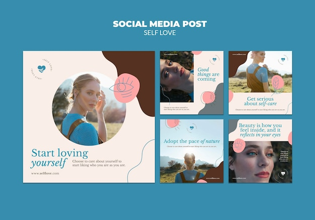 Kolekcja postów na instagramie dla miłości własnej i akceptacji