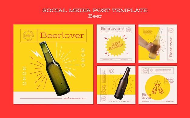 Kolekcja postów na instagramie dla miłośników piwa