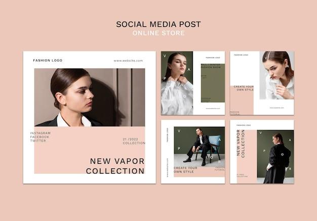 Kolekcja postów na instagramie dla minimalistycznego sklepu z modą online