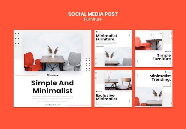 Kolekcja postów na instagramie dla minimalistycznych projektów mebli