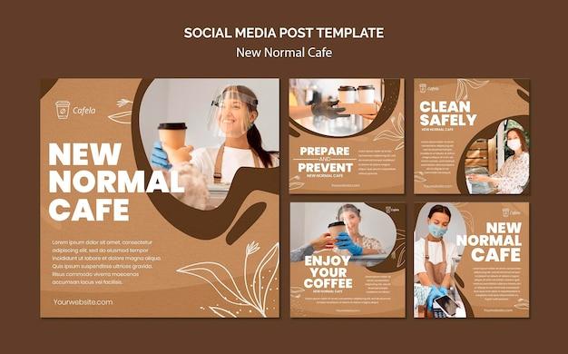 Kolekcja postów na instagramie dla nowej normalnej kawiarni