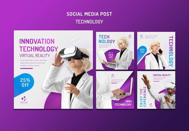 Kolekcja postów na instagramie dla nowoczesnych technologii z urządzeniami