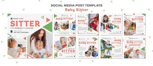 Kolekcja postów na instagramie dla opiekunki do dziecka z dziećmi
