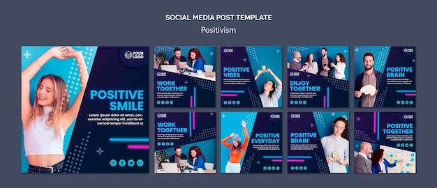 Kolekcja postów na instagramie dla optymizmu i pozytywizmu