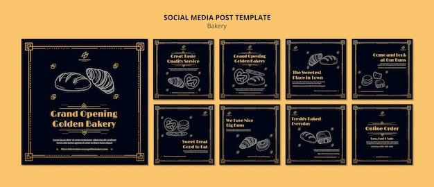 Kolekcja postów na instagramie dla piekarni z ręcznie rysowaną tablicą