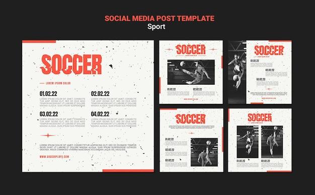 Kolekcja postów na instagramie dla piłki nożnej z kobietą