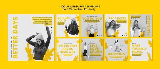 Kolekcja postów na instagramie dla pozytywizmu