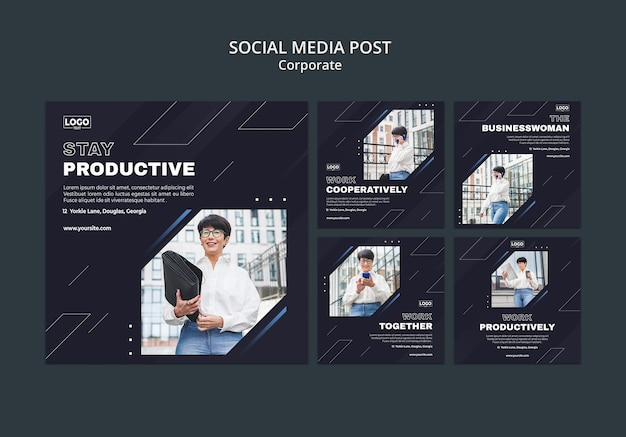Kolekcja postów na instagramie dla profesjonalnych korporacji biznesowych