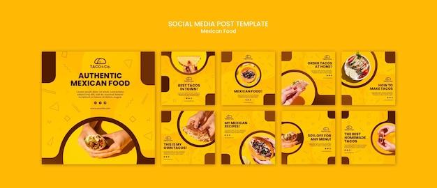 Kolekcja postów na instagramie dla restauracji meksykańskiej