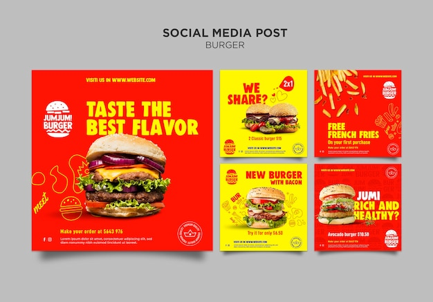 Kolekcja postów na instagramie dla restauracji z burgerami