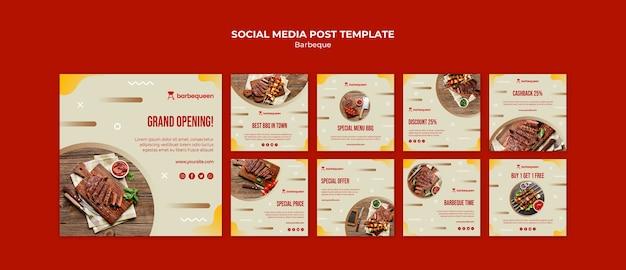 Kolekcja postów na instagramie dla restauracji z grillem