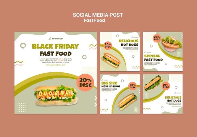 Kolekcja postów na instagramie dla restauracji z hot dogami