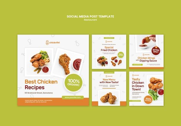 Kolekcja postów na instagramie dla restauracji z smażonym kurczakiem