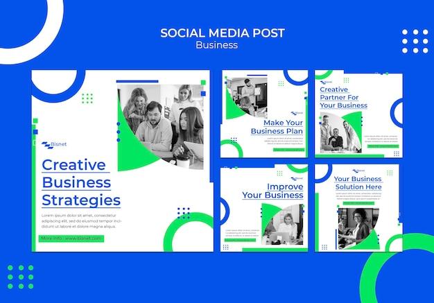 Kolekcja postów na instagramie dla rozwiązania biznesowego z monochromatycznym zdjęciem