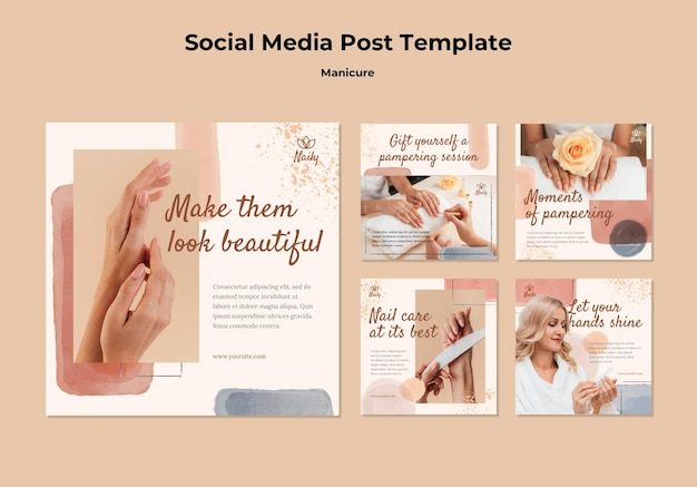 Kolekcja postów na instagramie dla salonu paznokci