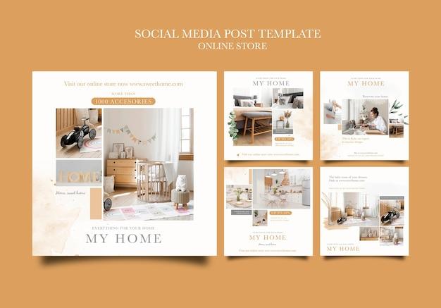 Kolekcja postów na instagramie dla sklepu internetowego z meblami do domu