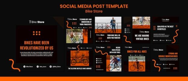 Kolekcja postów na instagramie dla sklepu rowerowego