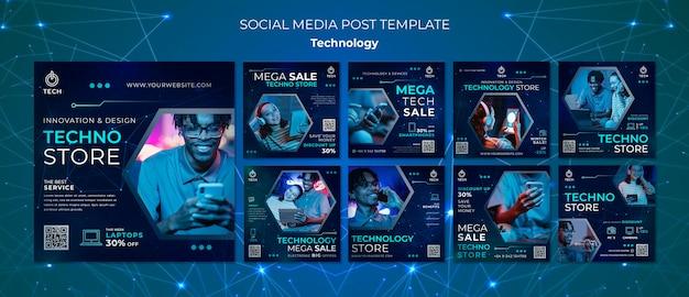 Kolekcja postów na instagramie dla sklepu techno