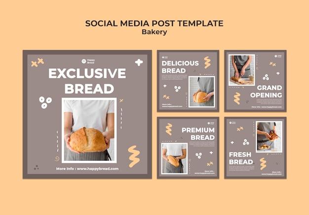 Kolekcja postów na instagramie dla sklepu z chlebem