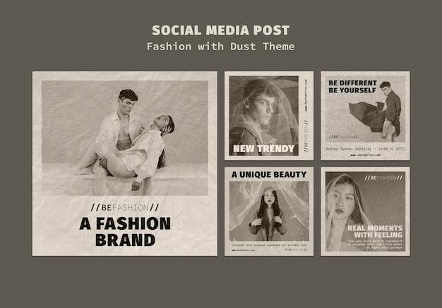Kolekcja postów na instagramie dla sklepu z modą