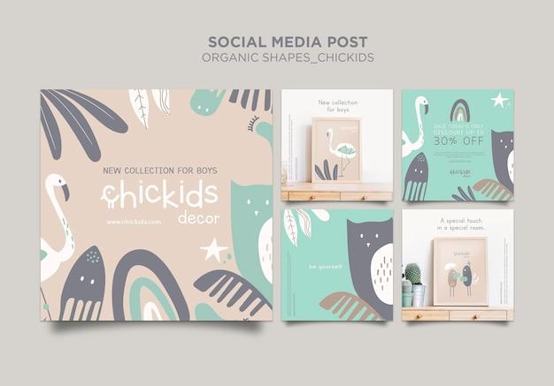 Kolekcja postów na instagramie dla sklepu z wyposażeniem wnętrz dla dzieci