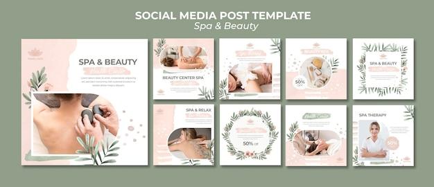 Kolekcja postów na instagramie dla spa i terapii