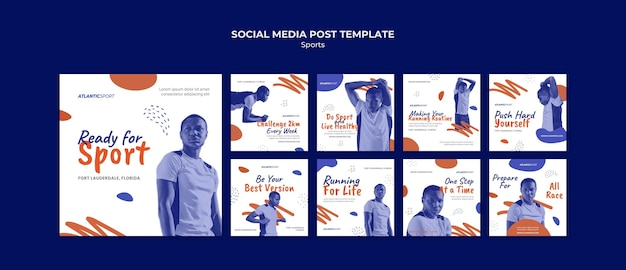 Kolekcja postów na instagramie dla sportu z męskim atletą