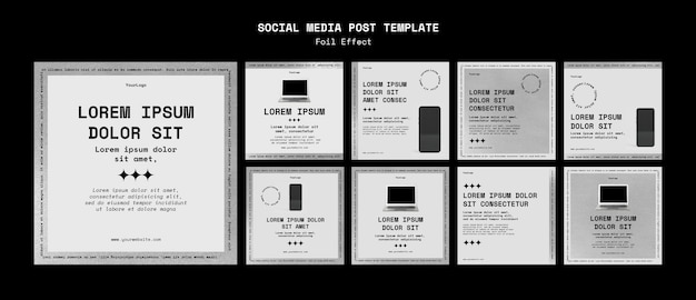 Kolekcja postów na instagramie dla technologii z efektem folii